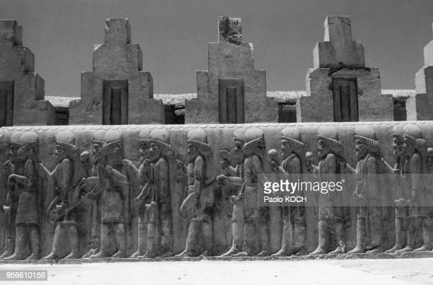 Basrelief des escaliers nord du Tripylon représentant une procession de nobles dans la cité perse de Persépolis Iran