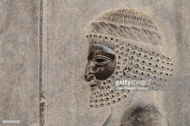 bas-relief  from the apadana depicting susian guards, ancient city of persepolis, shiraz, fars province, iran - bas relief stock pictures, royalty-free photos & images