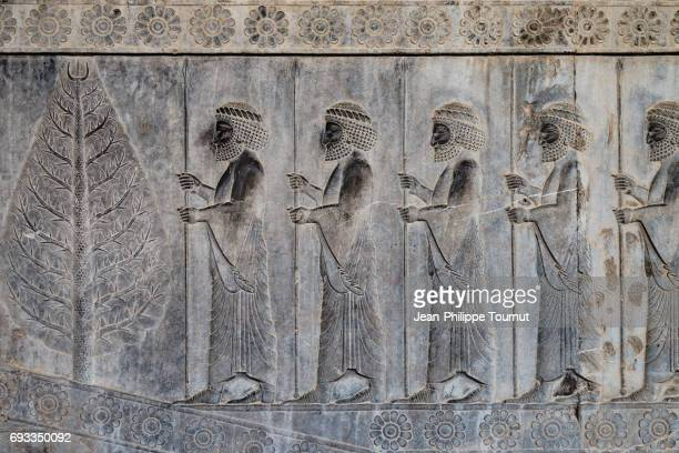 bas-relief from the apadana depicting susian guards and a tree, ancient city of persepolis, shiraz, fars province, iran - persian culture stock photos and pictures