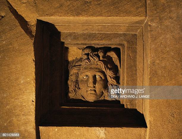 Basrelief of a cinerary urn interior of Dei Volumni Hypogeum family tomb of Arunte Volumnio Ponte San Giovanni Perugia Italy Etruscan civilisation...
