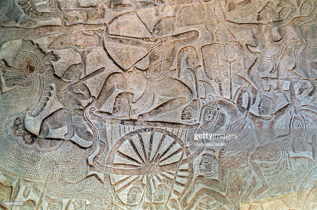 Gearbeiteten relief von Angkor Wat, Siem Reap, Kambodscha. : Stock-Foto