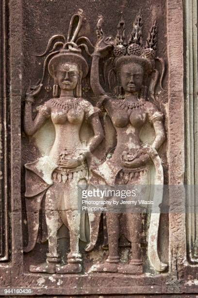 bas-relief of apsaras, angkor wat - buddhist goddess stock pictures, royalty-free photos & images