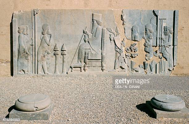 Basrelief of Darius the Great's Nowruz audience Treasury Persepolis Iran Achaemenid civilisation 6th5th century BC