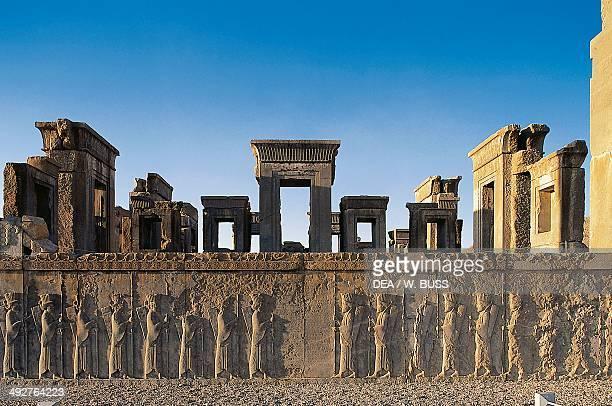 Basrelief of Persian guards west staircase Palace of Darius Persepolis Iran Achaemenid civilisation 6th5th century BC