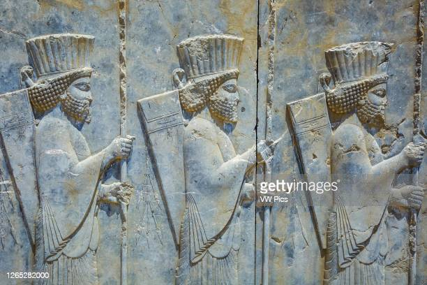 Bas-relief. Ruins of the Tachara . Persepolis ancient city ruins. Iran, Asia.