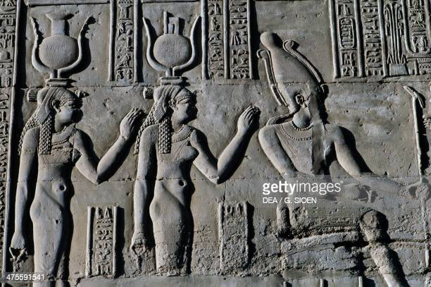 Bas-relief, Temple of Sobek and Haroeris, Kom Ombo, Egypt. Egyptian civilisation, Ptolemaic Kingdom, Hellenistic Era, Lagide Dynasty.