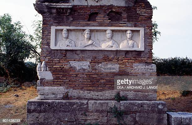 Basrelief with the portraits of patricians sepulchral monument on Via Appia Rome Italy Roman civilisation
