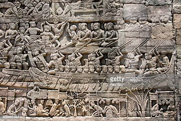 Bas-reliefs at the Bayon temple, Siem Reap, Cambodia