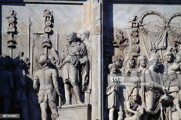 Basreliefs depicting Marcus Aurelius Arch of Constantine 315 AD Rome Italy Roman civilisation 4th century AD