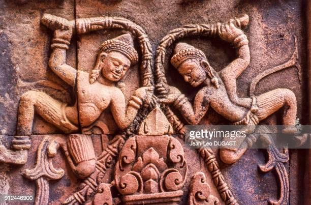 Bas-Reliefs du temple Banteay Srei, Cambodge.