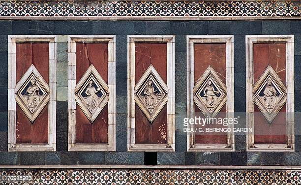 Basreliefs on Giotto's bell tower Florence Tuscany Italy