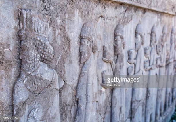 Bas-reliefs on the great staircase of Apadana Palace, Persepolis, Shiraz, Fars Province, Iran.