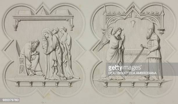 Basreliefs with religious scenes on a panel to the southern door to the Baptistery in Florence Italy drawing by A Jules Bouchet engraving by Ch Oury...