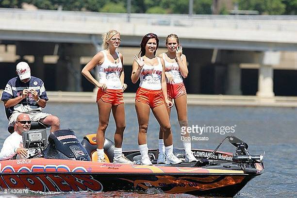 Bass Fishing BASS Bassmaster Classic View of Hooters girls on boat during competition Pittsburgh PA 7/29/2005