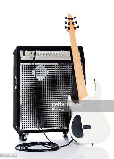 bass guitar and amp - electric guitar stock pictures, royalty-free photos & images