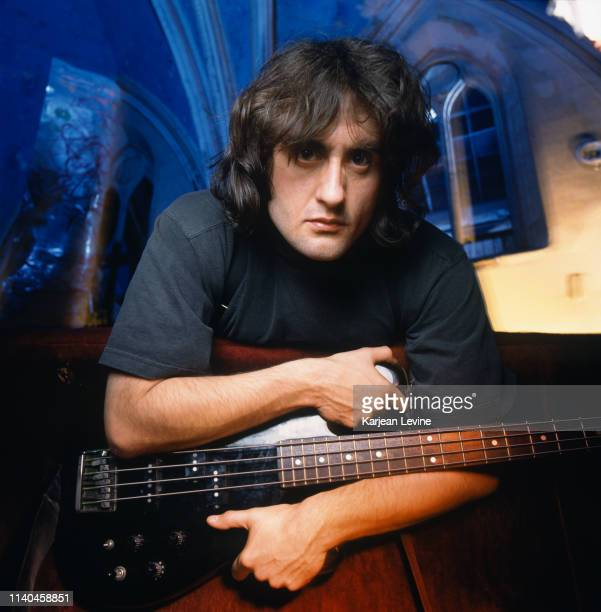 """Bass guitarist CG Green on the set of Godflesh's video production for """"Crush My Soul"""" at the Angel Orensanz Foundation on October 28 1994 in New York..."""