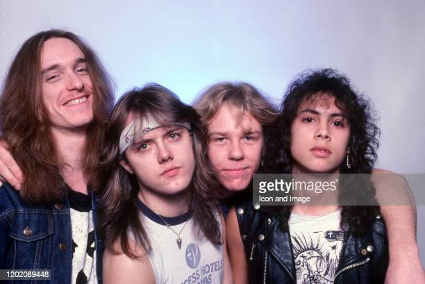 Bass guitarist Cliff Burton , drummer Lars Ulrich, vocals, guitarist James Hetfield and guitarist Kirk Hammett pose for a studio portrait during the...