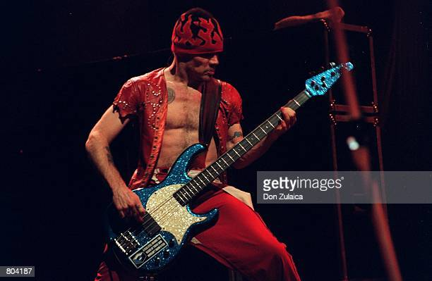 """Bass guitarist Flea of the """"Red Hot Chili Peppers"""" performs during a cocert September 9, 2000 in Mountain View, CA. The Red Hot Chili Peppers were..."""