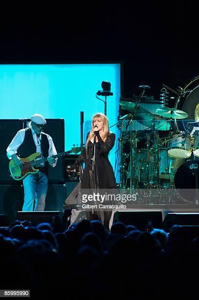 Bass guitarist John McVie and singer Stevie Nicks of Fleetwood Mac perform at the Wachovia Center April 15, 2009 in Philadelphia, Pennsylvania.
