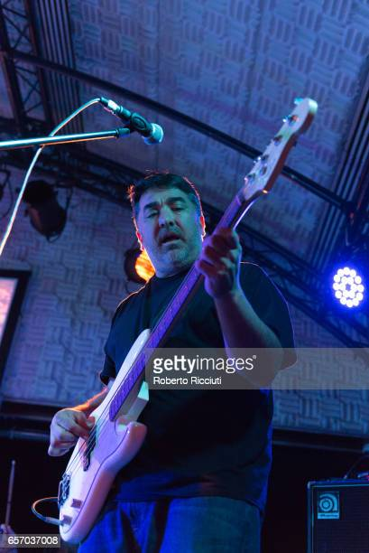 Bass guitarist Kevin Garcia of Grandaddy performs on stage at Potterrow on March 23 2017 in Edinburgh United Kingdom