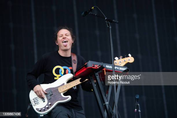 Bass guitarist Kieran Jones performs with Dermot Kennedy on the Main Stage on the third day of TRNSMT Festival 2021 on September 12, 2021 in Glasgow,...