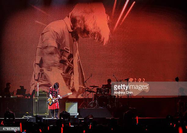 Bass Guitarist Masa of Mayday kicks off the North American 'NowHere World Tour' at Pacific Coliseum on March 17 2014 in Vancouver Canada