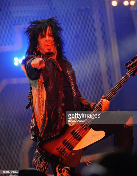 Bass guitarist Nikki Sixx of the heavy metal band Motley Crue performs onstage live as part of Crue Fest at Jones Beach Theater on July 8 2008 in...