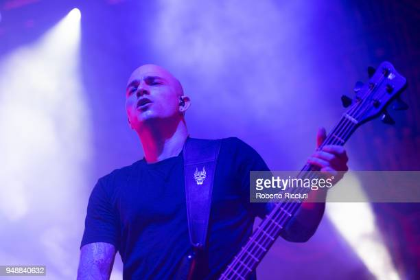 Bass guitarist Paolo Gregoletto of Trivium performs on stage at O2 Academy on April 19 2018 in Glasgow Scotland