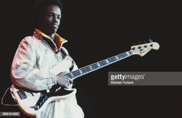 Bass guitarist Verdine White of American multigenre band Earth Wind Fire circa 1977