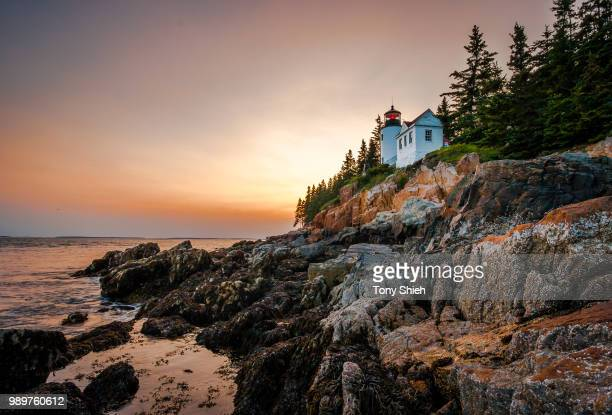 bass harbor head light lighthouse at dusk, maine, usa - メイン州 ストックフォトと画像