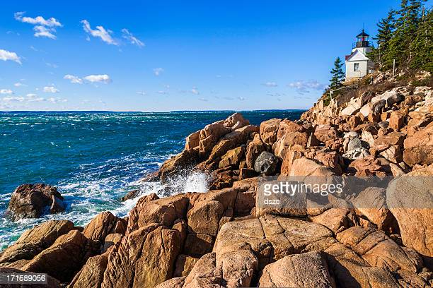 bass harbor head lighthouse, acadia national park, atlantic ocea - boulder county stock pictures, royalty-free photos & images