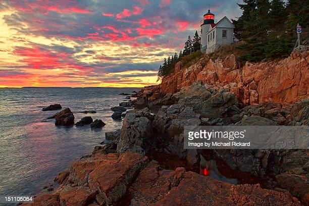 bass harbor head lighthouse - bar harbor stock photos and pictures