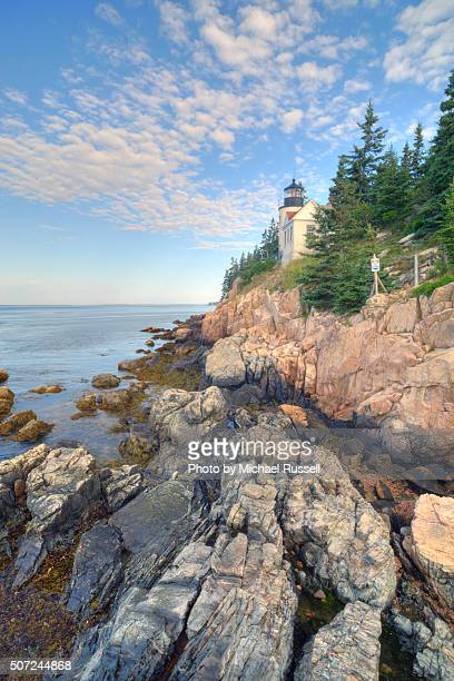 bass head lighthouse - bar harbor stock photos and pictures