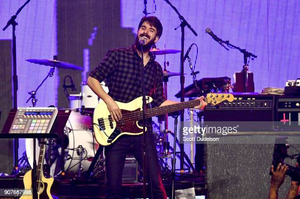 Bass player Adam Met of the band AJR performs onstage during the iHeartRadio ALTer EGO concert at The Forum on January 19 2018 in Inglewood California