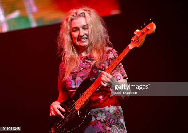 Bass player Annette Zilinskas of The Bangles performs onstage during KEarth's Totally 80's Show at Honda Center on January 26 2018 in Anaheim...