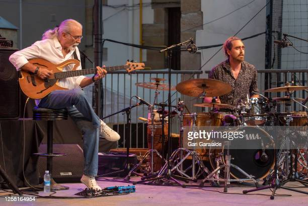 Bass player Carles Benavent and percussionist Aleix Tobias perform on stage with the Carles Benavent Trío during the 55th edition of the Heineken...