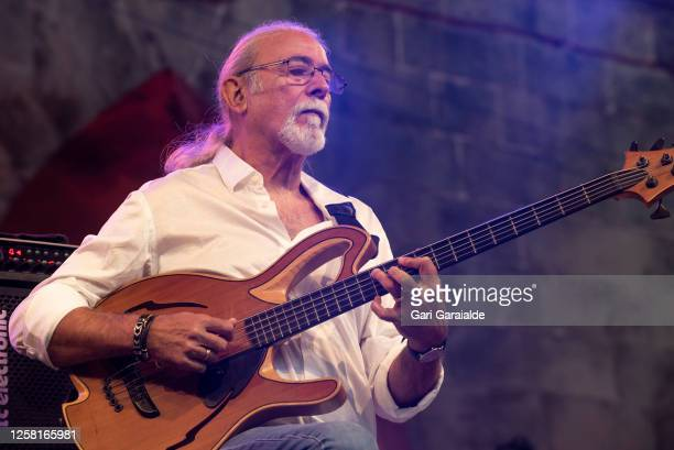 Bass player Carles Benavent performs on stage with the Carles Benavent Trío during the 55th edition of the Heineken Jazzaldia Festival on July 25...