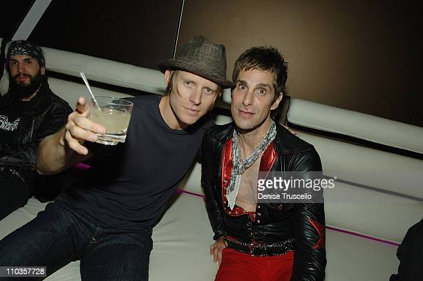 Bass player Chris Chaney and singer Perry Ferrell attend Slash's birthday celebration at The Mirage Hotel and Casino on July 23 2008 in Las Vegas...