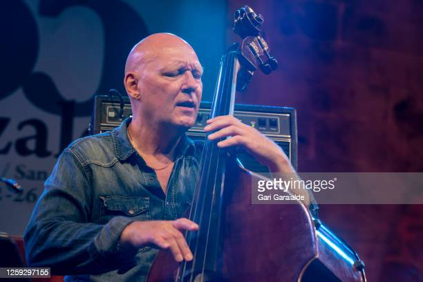 Bass player Dan Berglund performs on stage with Rymden during the 55th edition of the Heineken Jazzaldia Festival on July 26 2020 in San Sebastian...