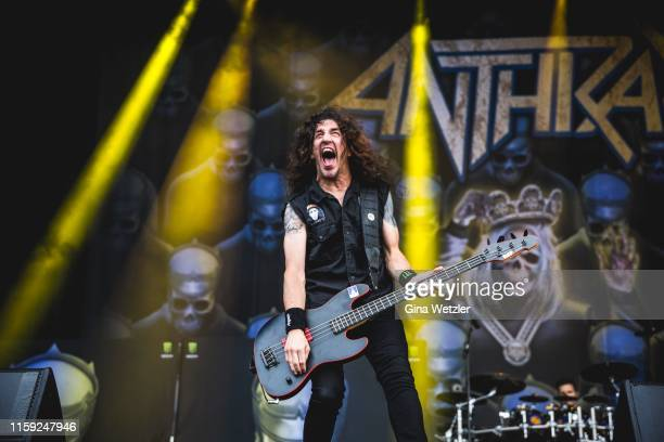 Bass player Dan Lilker of the American band Anthrax perfroms live on stage during the second day of the Wacken Open Air festival on August 2 2019 in...