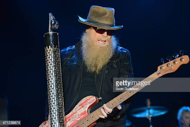 Bass player Dusty Hill of ZZ Top performs onstage during day 2 of the Stagecoach Music Festival at The Empire Polo Club on April 25, 2015 in Indio,...