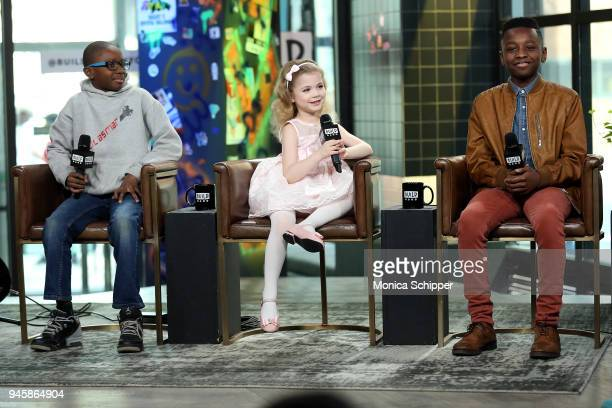 Bass player Lil Asmar author Ariana Jalia and gospel singer Miles Caton visit Build Studio to discuss the television show 'Little Big Shots' on April...