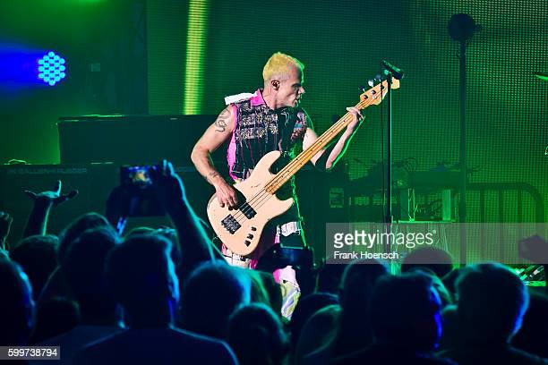 Bass player Michael Balzary of the American band Red Hot Chili Peppers performs live during the 360 degree HD live stream concert as part of the...