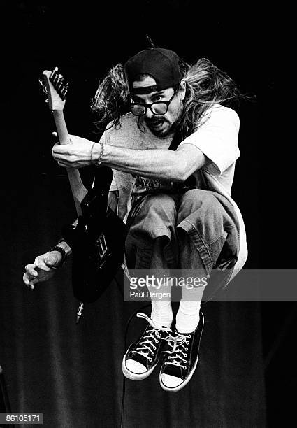 Bass player Noodles from American group The Offspring performs live on stage at the Metropolis festival in Rotterdam Netherlands on 4th September 1994