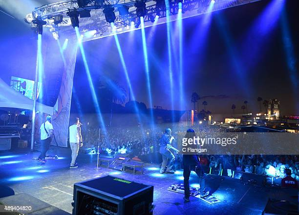 Bass player P-Nut, guitarist/singer Nick Hexum, singer Doug Martinez and guitar player Tim Mahoney of 311 perform onstage during 2015 KAABOO Del Mar...