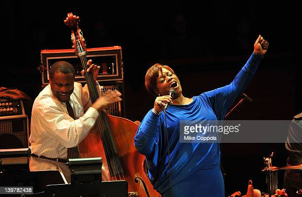 Bass player Reginald Veal and singer Dianne Reeves perform at Rose Theater Jazz at Lincoln Center on February 24 2012 in New York City