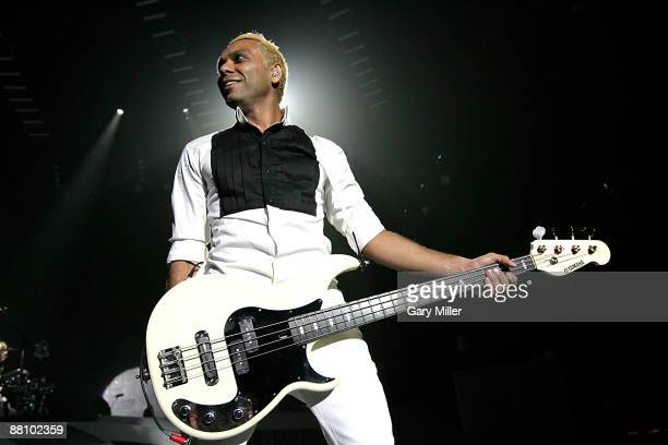 Bass player Tony Kanal of No Doubt performs at the Cynthia Woods Mitchell Pavilion on May 31 2009 in The Woodlands Texas