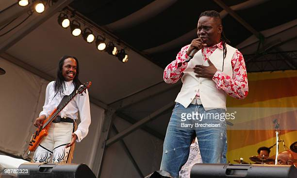 Bass player Verdine White and singer Philip Bailey of Earth and Wind and Fire perform during day 5 of the 41st Annual New Orleans Jazz Heritage...