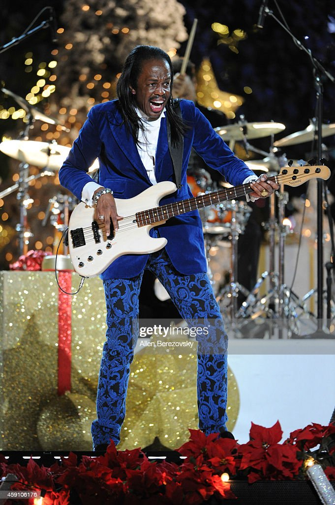 Bass player Verdine White of Earth, Wind & Fire performs onstage during The Grove's 12th Annual Christmas Tree Lighting Spectacular at The Grove on November 16, 2014 in Los Angeles, California.