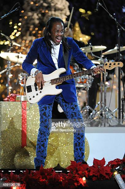 Bass player Verdine White of Earth Wind Fire performs onstage during The Grove's 12th Annual Christmas Tree Lighting Spectacular at The Grove on...